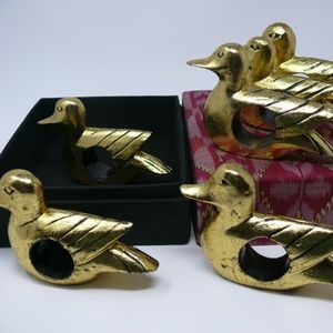 6 Napkin Rings Box Gold Painted Carved Wood Birds